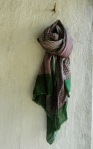 BLOCK PRINT SCARF-PURPLE/GREEN