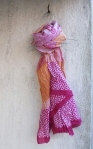 BLOCK PRINT SCARF-PINK/ORANGE